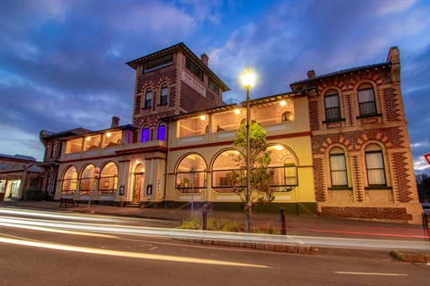 External shot of the Vue Grand Hotel at twilight